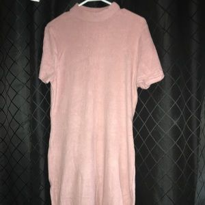 Short sleeve pink sweater dress